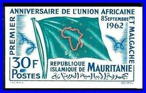 MAURITANIA 1962 AFRICAN UNION FLAG SC# 170 VF MNH IMPERF (D1123)