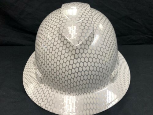 Free Shipping New Full Brim Hard Hat Custom Hydro Dipped WHITE HEX CARBON FIBER