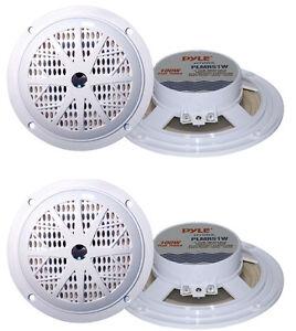 "4) PYLE PLMR51W 5.25"" 200W 2-Way Waterproof Marine/Boat/Car Audio Speakers White"