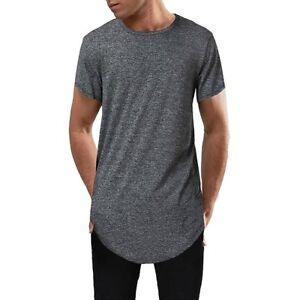 d0ef647fa08 Men's Hip Hop Fashion Streetwear Tee Shirt Swag Hem Longline Hipster ...
