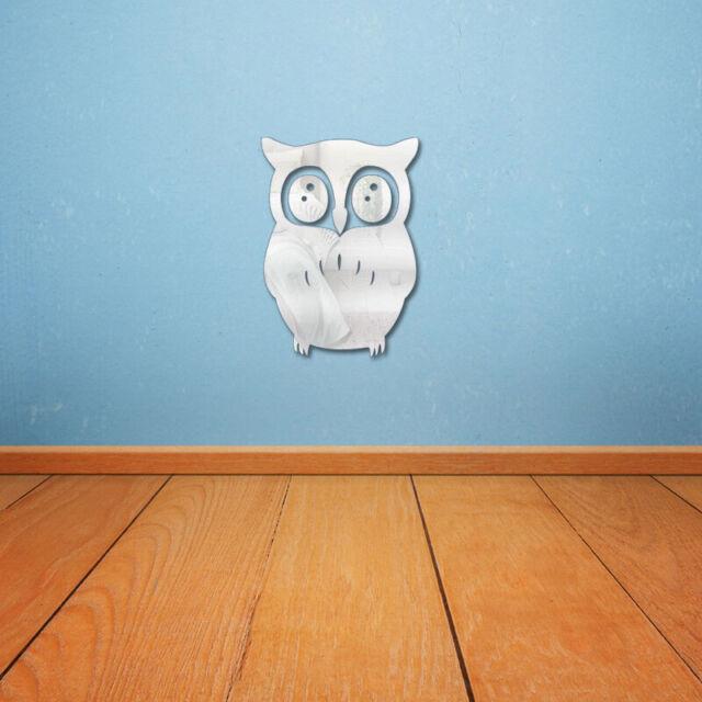 US 3D Cute Owl Shape DIY Mirror Wall Stickers Modern Home Wall Decals Decor New