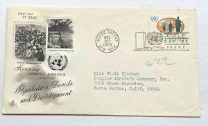 Nazioni UNITE 1965 andamento demografico sviluppo primo giorno emissione postale FDC