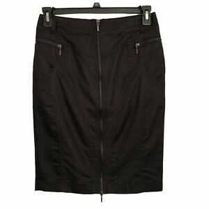 Dalia-Collection-Solid-Black-Zippered-Knee-Length-Pencil-Skirt-Womens-size-4