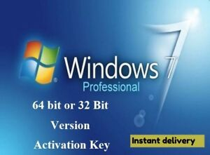 WINDOWS 7 PROFESSIONAL PRO KEY 32 / 64 BIT ACTIVATION CODE ...
