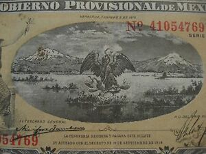 Mexico-1-Peso-REVOLUTION-Banknote-1914-Series-A-paper-money-Eagle-and-Snake
