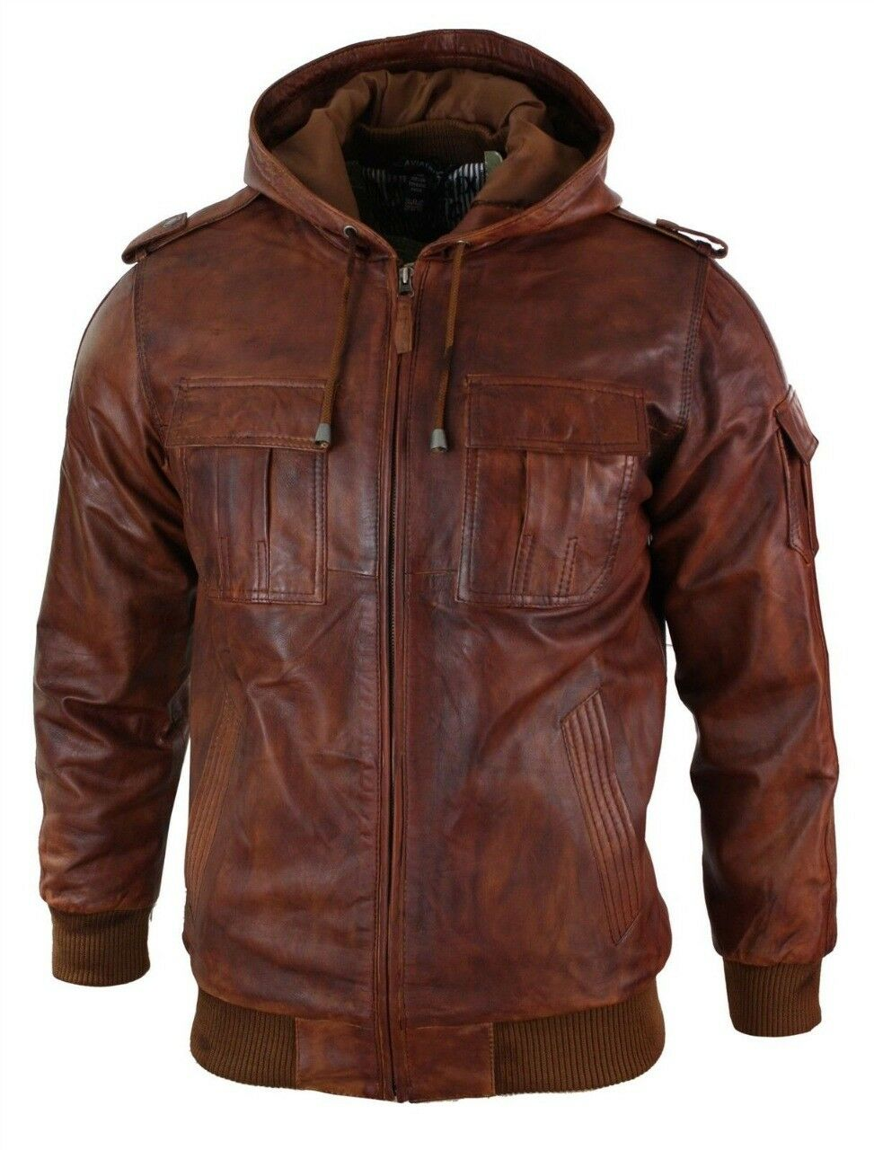 herren Retro Style Zipped Biker jacke Real leder Washed Soft Tan braun Casual