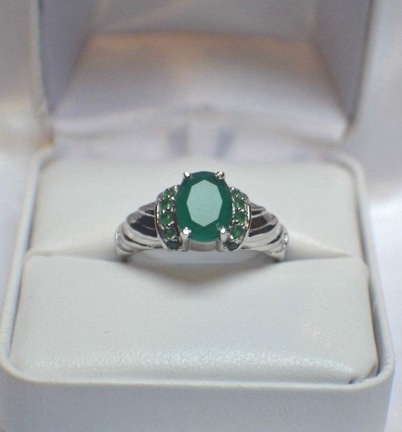 Turkish Handmade Sterling Silver 925 Jewelry Emerald Ladies Ring 7 8 9