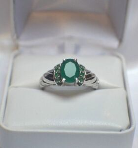 3-64-ct-NATURAL-GENUINE-AFRICAN-EMERALD-925-STERLING-SILVER-COCKTAIL-RING