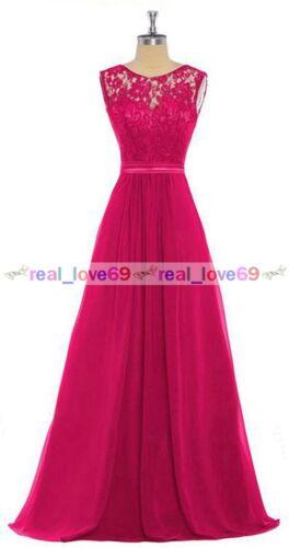 Nouveau dentelle soirée formelle mousseline Parti Bal Robes Bal demoiselle d/'honneur robe Taille 6-24