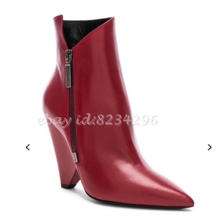 NEUE TOP Lederstiefel Damen Ankle Ankle Ankle Stiefel Spitz Sexy Stiefeletten Geformt Absatz 6aed68