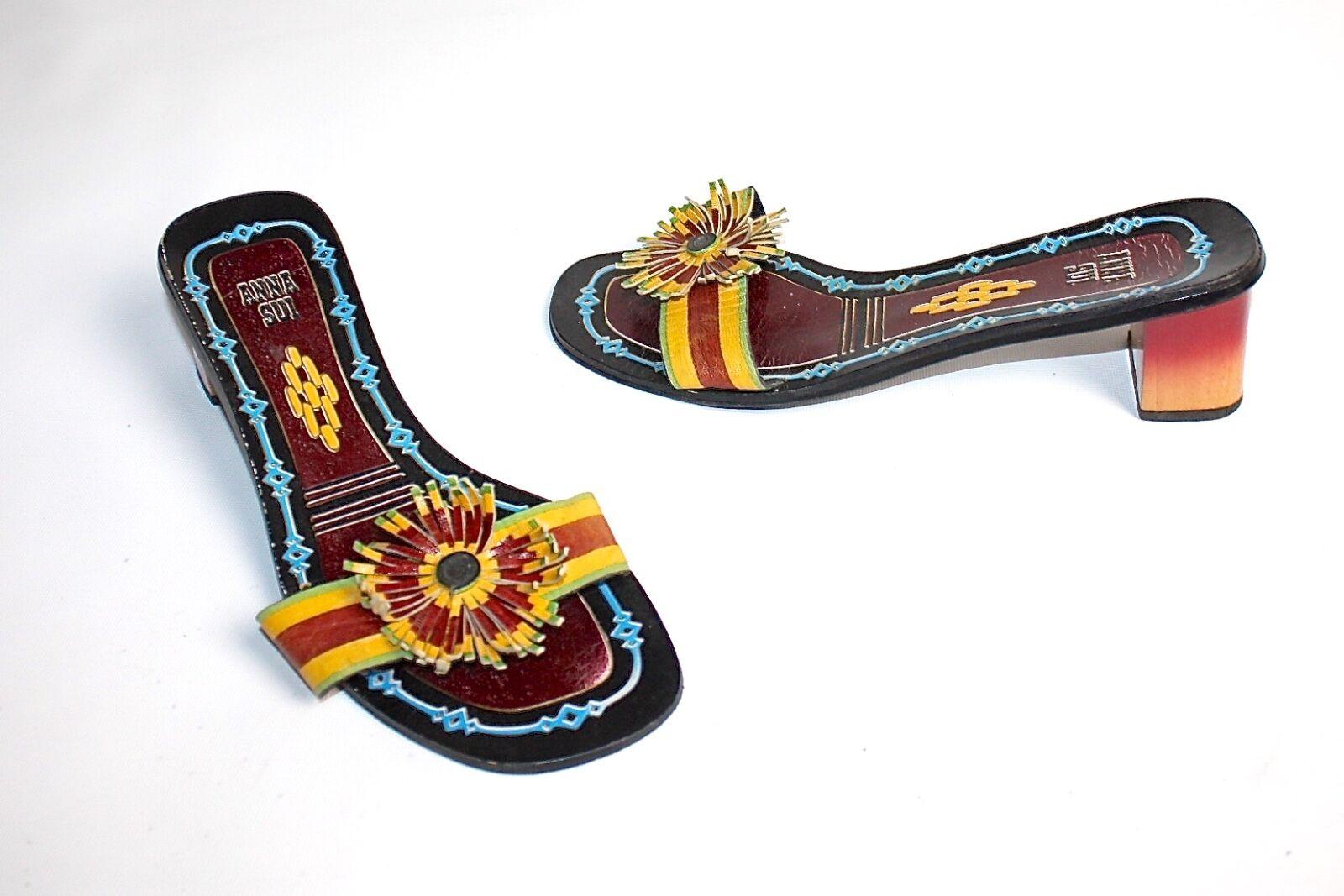 Anna Sui  hermosa Colorido sandalias 39 39 39 usado poco   02193 39 50    primera vez respuesta
