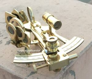 """rare SOLID SHIP BRASS HAND-MADE 5/"""" SEXTANT ASTROLABE MODEL SEXTANT GIFT"""