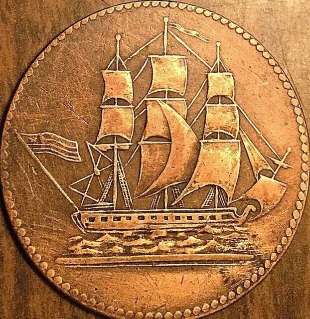 PEI SHIPS COLONIES AND COMMERCE HALF PENNY TOKEN COIN - Breton 997 Lees 2 SHC-5