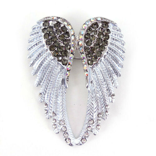 Lovely Silver Gray Angel aile 5 cm long usage Autriche Cristal Broche Pin écharpes
