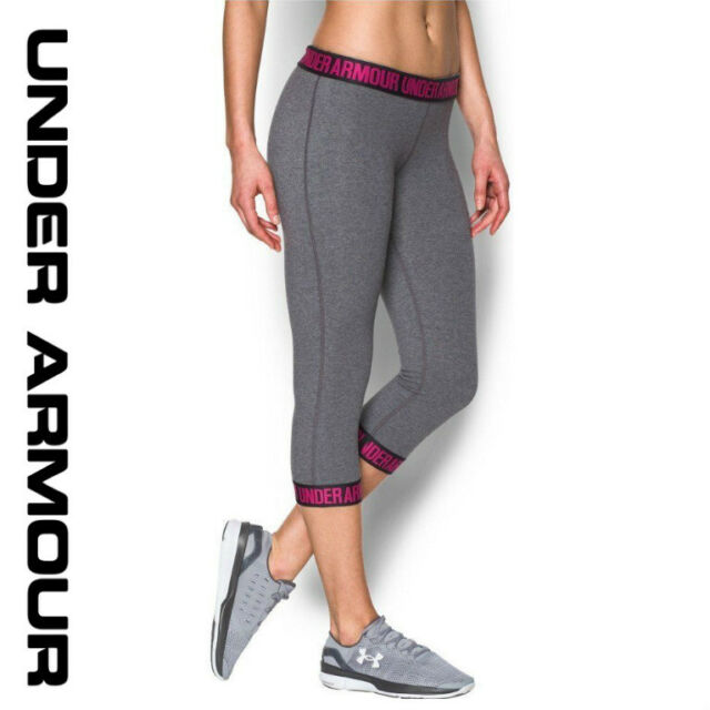 1c293daf Under Armour Womens Fitted Capris Gray Power in Pink 1287130-092 Size XS