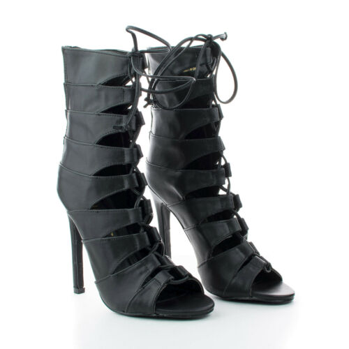 Nikia2 Caged Cut Out Lace Up Stiletto Heel Ankle Booties