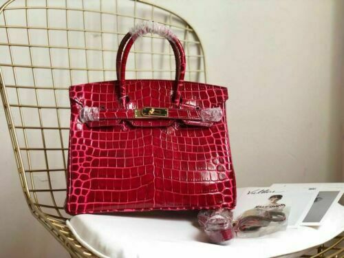 Women Genuine Leather Designer Inspired Birkin Crossbody Padlock Bag tote 35cm