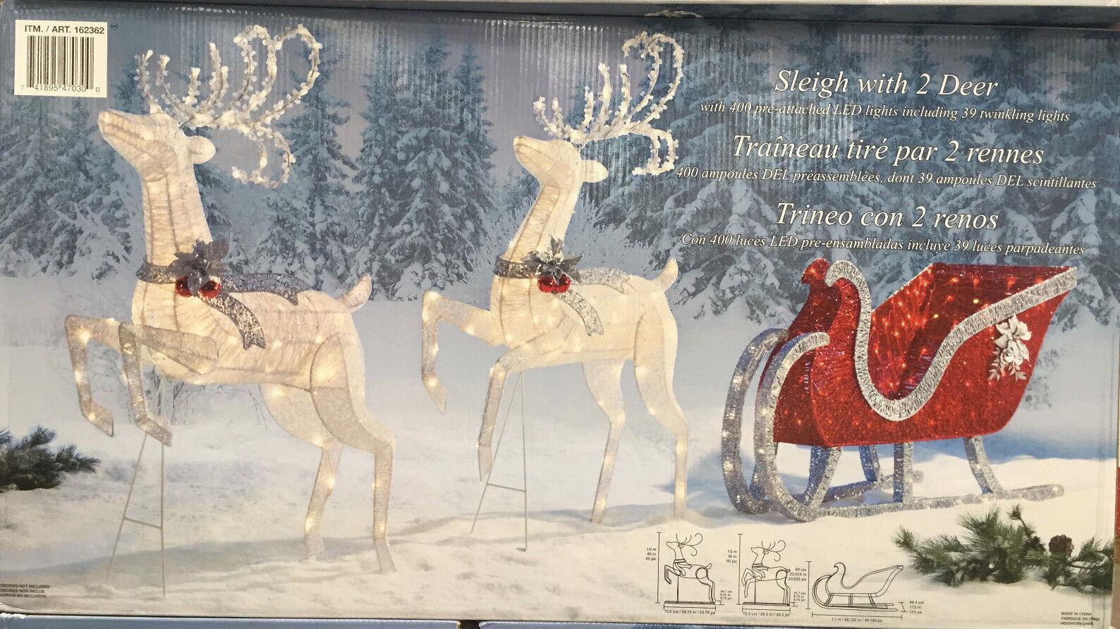 reindeer sleigh 400 led lights indoor outdoor garden. Black Bedroom Furniture Sets. Home Design Ideas