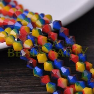 New-50pcs-6mm-Bicone-Faceted-Glass-Loose-Spacer-Colorful-Beads-Red-amp-Yellow-amp-Blue