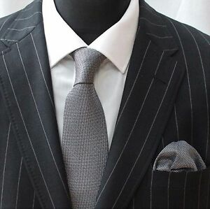 Tie Cravate Avec Mouchoir Noir/gris-afficher Le Titre D'origine Convient Aux Hommes Et Aux Femmes De Tous âGes En Toutes Saisons