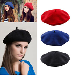 Womens Ladies Plain Beret Hat Soft Wool French Beret Winter Warm ... e4ee4700474e