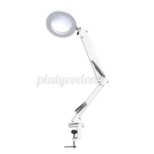 5X Magnifier LED Light Glass Beauty Desk Table USB Magnifier Illuminated Lamp US