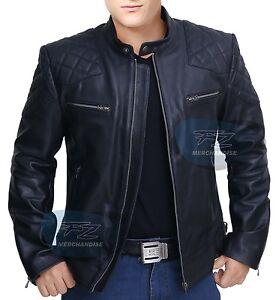 441eafc39 Details about David Beckham Leather Jacket Black Men Motorcycle Jacket Coat  - All Sizes