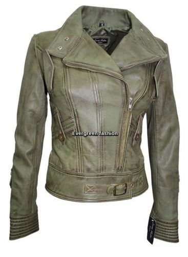 Real Designer Supermodel Olive Green Leather Style Biker Jacket Italian Ladies XHY4qwY