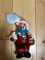 SANTA PIG BY GISELA GRAHAM - COLLECTABLE GLASS BAUBLE TREE DECORATION 1089