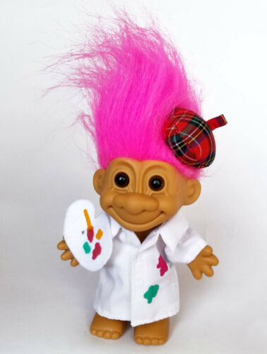 "Vintage Troll 5/"" ARTIST PAINTER  by RUSS Doll Troll with Hot Pink Hair NEW"