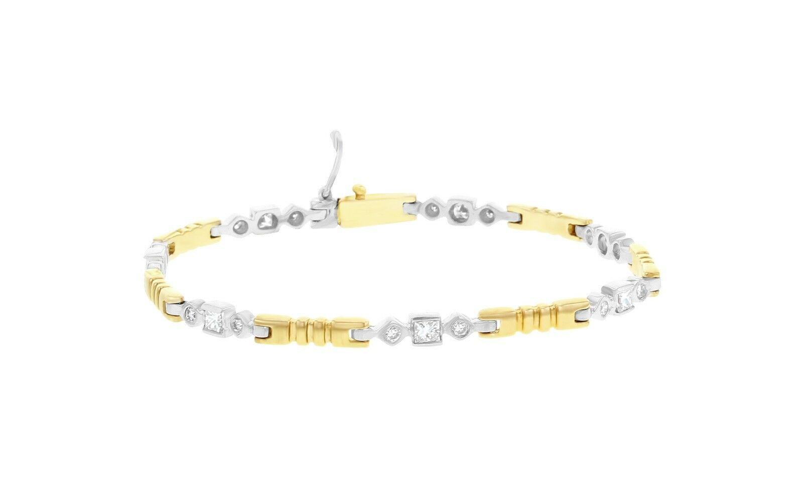 TWO TONED Princess Round DIAMOND Tennis Bracelet - 14k gold -1.00cttw - 10.5Gram
