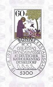 BRD-1982-Heiliger-Franz-von-Assisi-Nummer-1149-mit-Bonner-Ersttagsstempel-1A