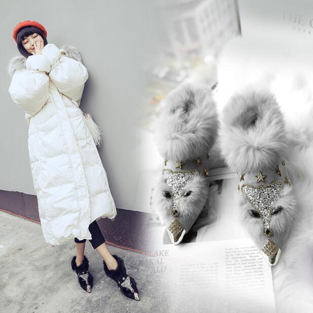 femmes Cute Pointy Toe Winter bottes Rhinestone Warm Fur Ankle démarrage Slip On Ske15