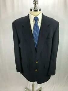 Hart-Schaffner-Marx-Men-039-s-Blue-Wool-Blazer-Jacket-Sport-Coat-44R
