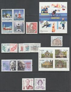 Sweden-Sc-2450-2467-MNH-2002-03-issues-8-complete-sets-fresh-bright-VF
