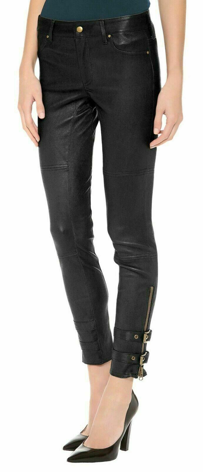 100% Lammleder Damen Black Denim Schmal Hose Klassisch Jeans Hose