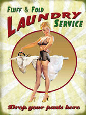 Retro Vintage Style Metal Sign FLUFF AND FOLD LAUNDRY SERVICE Bathroom Toilet