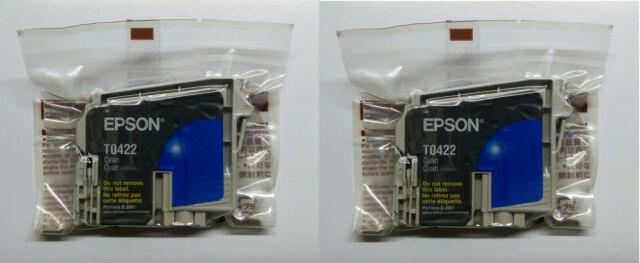 2 x Originale Epson T0422 Ciano Stylus C70 Plus C80 C82 CX5200 CX5400