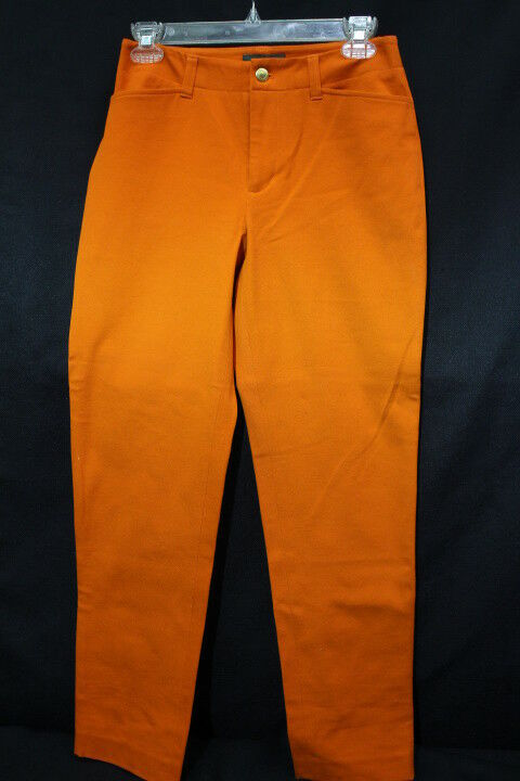 NWT Lauren-RALPH LAUREN Petite orange Basketball Slim Stretch Pants Wmns. 2P-B42