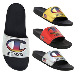 defcbcfeff201 Details about Champion Unisex 1919 Logo IPO Metallic Slide Sandals