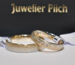 1-Paar-Trauringe-Eheringe-Gold-585-Eismatt-Bicolor-Weiss-Gelb-3-x-0-01ct