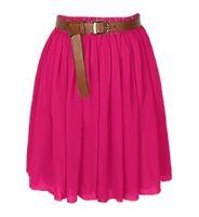 DEEP PINK | Lady Women Chiffon Mini Skirts Pleated Retro High Waist Double Layer