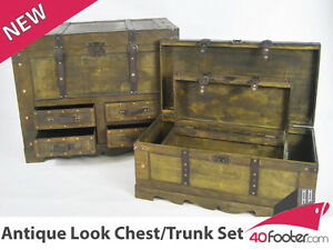 Vintage-Industrial-Antique-Look-Trunk-Chest-Set-Blanket-Box-Brand-New