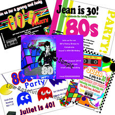 50 X Personalised 80s Party Invitations Eighties Invites Many