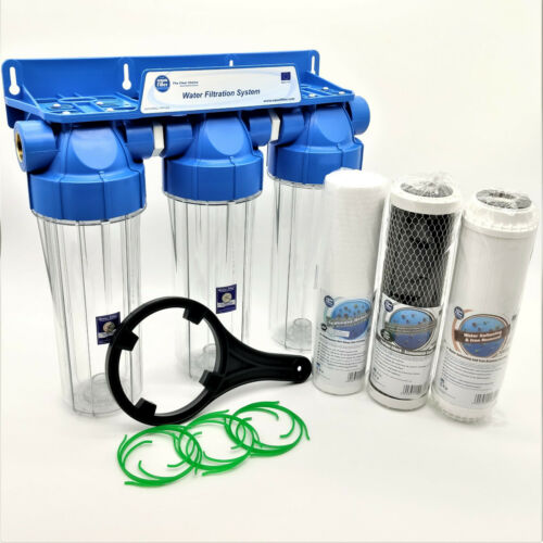 3 Stage Whole House Water Purifier and Softener Filter Kit Salt Free 3/4