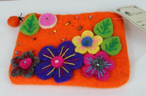 HANDMADE Felt Coin Purse Wallet Flower Animal Felted Clutch Pouch Fairtrade