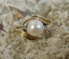6mm South Sea Round White Pearl Ring w/ 2 Diamond .01tcw ~10K YG Set  sz6.75*