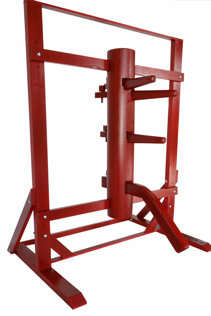 Wing Chun Wooden Dummy With Frame And Legs Cherry color