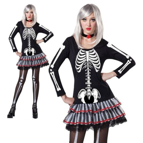 Squelette Adulte Femme Costume Halloween Os Ladies Fancy Dress Outfit NEUF