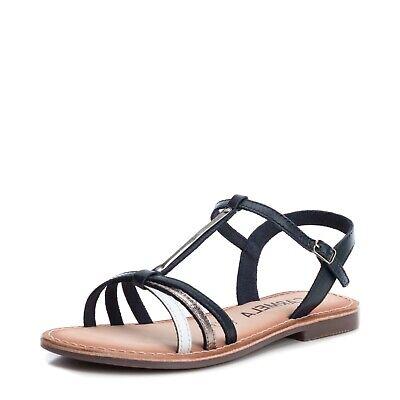 Carmela By Xti Shoes 66638 Navy Blau Blue Leder Sandalette Leather Sandal Halten Sie Die Ganze Zeit Fit